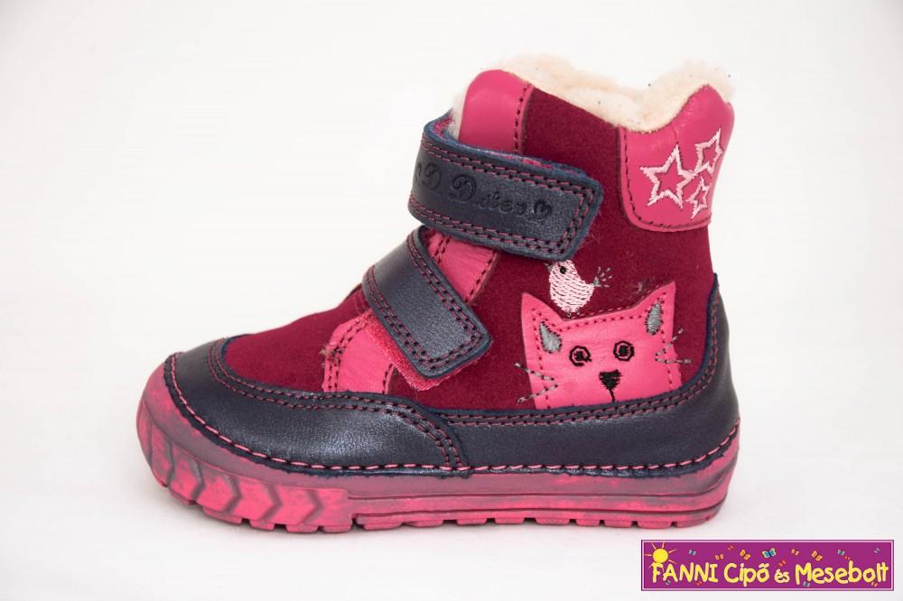 D.D.step lány téli bélelt vízlepergető gyerekcipő kék-pink cicás ... 47ea481d4d