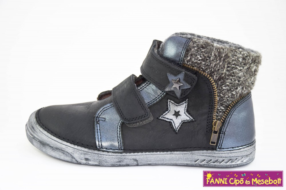 D.D.step lány téli bélelt vízlepergető gyerekcipő 25-30 fekete-csillagos 8b193970c2