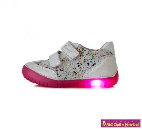 D.D.step lány világító talpú gyerekcipő 25-30 fehér - Fanni cipő és mesebolt 16c09a9529