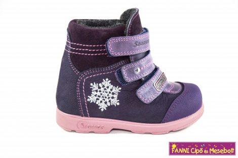 Szamos lány szupinált SzamTex/vízálló téli bélelt bakancs 19-24 lila hópelyhes
