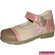 Szamos lány szupinált szandálcipő/balerinacipő 31-35 homok/rózsa-szívecskés