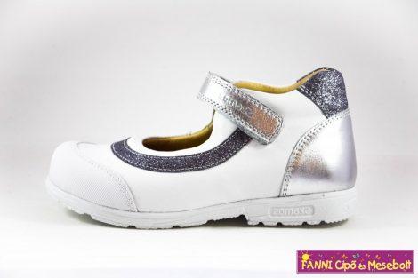 Szamos lány szupinált szandálcipő/balerinacipő 25-30 fehér-ezüst
