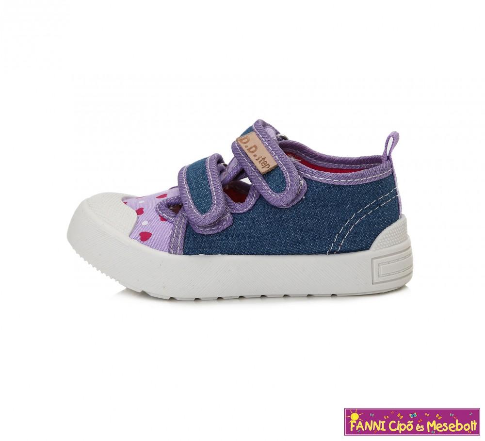 D.D.step lány vászoncipő v.kék-lila pöttyös-szíves - Fanni cipő és ... bbdf999f8b
