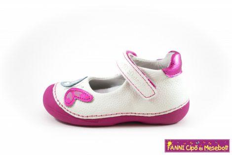 D.D. step lány szandálcipő/balerinacipő 19-24 fehér-pink pillangós