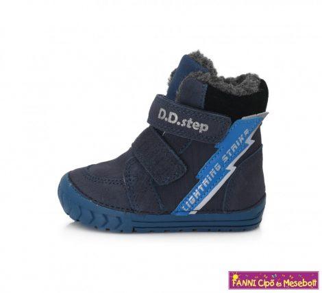 D.D. step fiú téli bélelt vízlepergető gyerekcipő 19-24 kék-villámos  19-ES UTOLSÓ PÁR