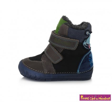 D.D. step fiú téli bélelt vízlepergető gyerekcipő 19-24 szürke-fekete űrlényes