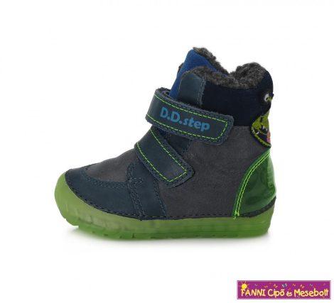 D.D. step fiú téli bélelt gyerekcipő 19-24 kék-zöld űrlényes