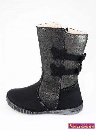 D.D,step lány téli bélelt vízlepergető csizma 25-30 fekete-szürke, 25-ÖS UTOLSÓ PÁR