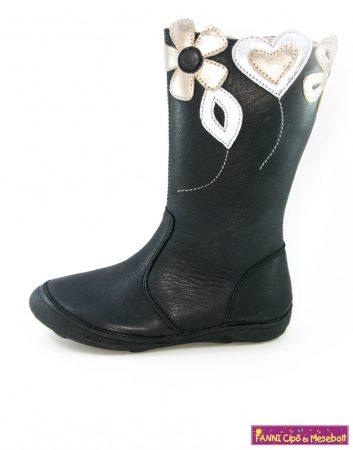 D.D.step lány téli bélélt vízlepergető gyerekcsizma 25-30 fekete virágos szíves