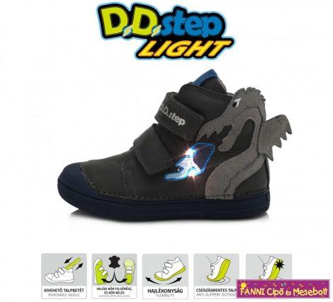 D.D. step fiú LED-villogós gyerekcipő 25-30 szürke-sárkányos