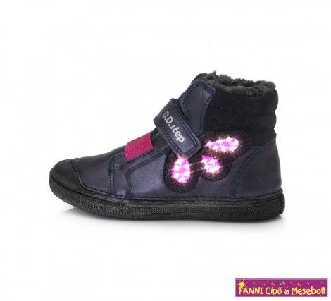 D.D. step lány LED-villogós téli bélelt gyerekcipő 25-30 kék-pink  25-ÖS UTOLSÓ PÁR