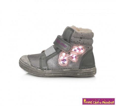 D.D. step lány LED-villogós téli bélelt vízlepergető gyerekcipő 31-36 szürke-ezüst