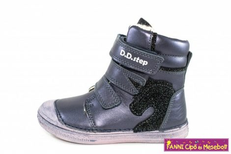 D.D. step lány téli bélelt vízlepergető gyerekcipő 25-30 s.kék-fekete unikornisos