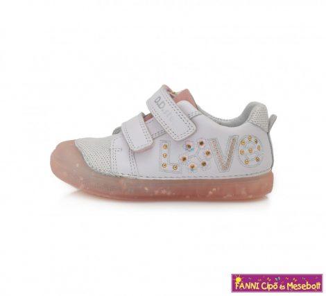 D.D. step lány gyerekcipő 25-30 fehér feliratos