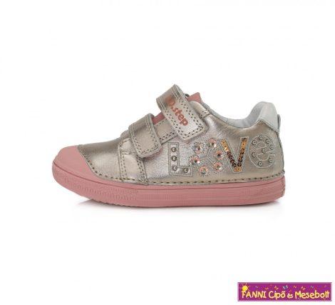 D.D. step lány gyerekcipő 25-30 pezsgő-rózsaszín feliratos