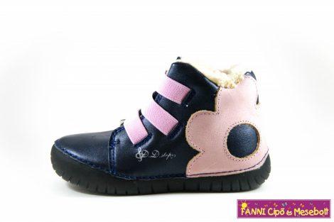 D.D.step lány világító talpú téli bélelt vízlepergető gyerekcipő 25-30 kék-rózsaszín virágos
