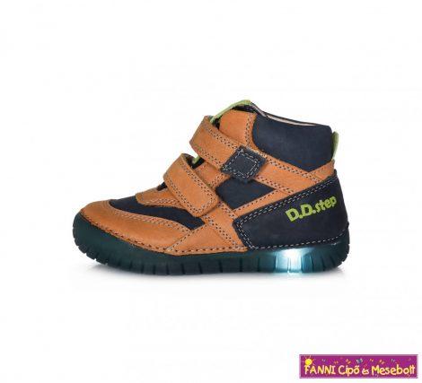 D.D.step fiú világító talpú gyerekcipő 31-36 barna-kék   36-OS UTOLSÓ PÁR