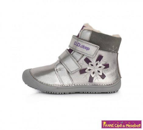 """D.D.step lány """"Barefoot"""" téli bélelt vízlepergető gyerekcipő 25-30 ezüst-szürke hópelyhes"""