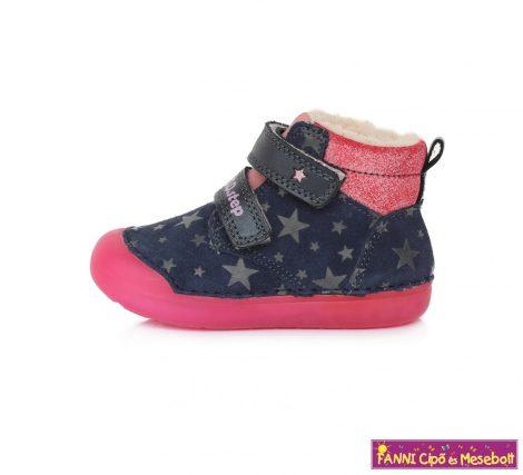 D.D. step lány téli bélelt vízlepergető gyerekcipő 20-25 kék-pink csillagos
