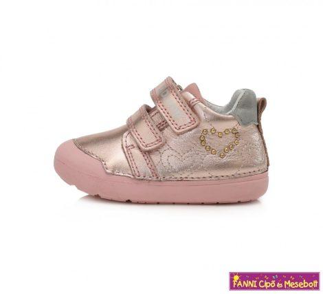 D.D. step lány gyerekcipő 20-25 Metallic Pink szivecskés