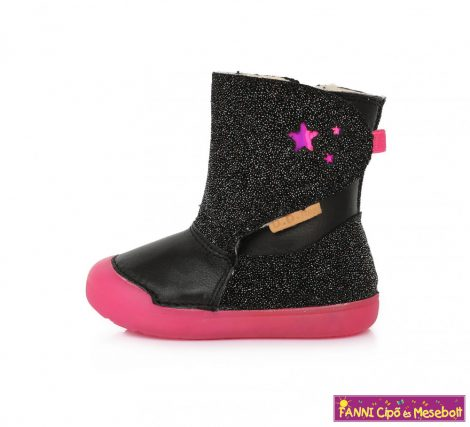 D.D. step lány téli bélelt vízlepergető gyerekcsizma 20-25 fekete-pink csillogós