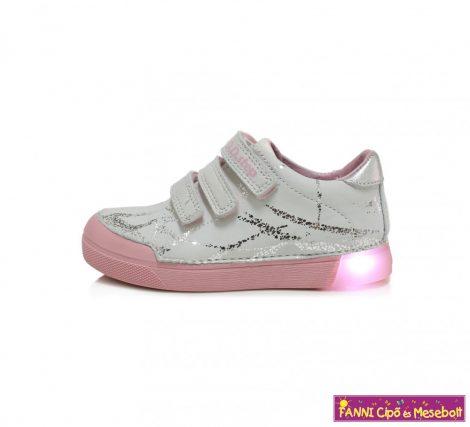 D.D. step lány világító talpú gyerekcipő 25-30 fehér-mintás