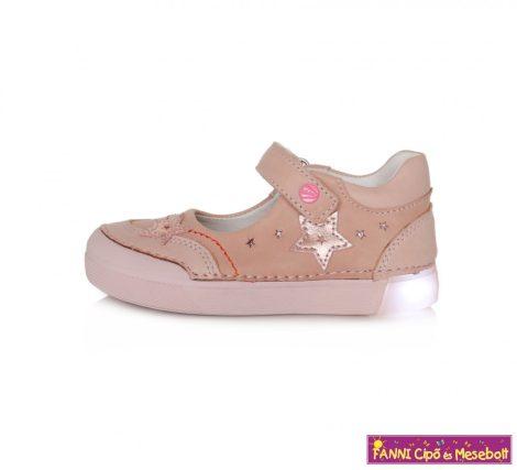 D.d. step lány világító talpú szandálcipő/balerinacipő 25-30 rózsaszín-csillagos