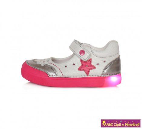 D.D. step világító talpú szandálcipő/balerinacipő 31-36 ezüst-rózsaszín-csillagos