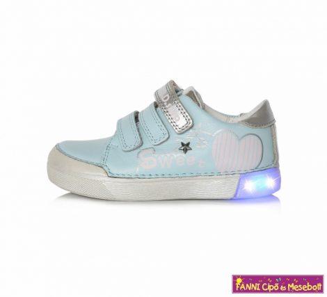 D.D. step lány  LED-villogós gyerekcipő 25-30 v.kék szivecskés