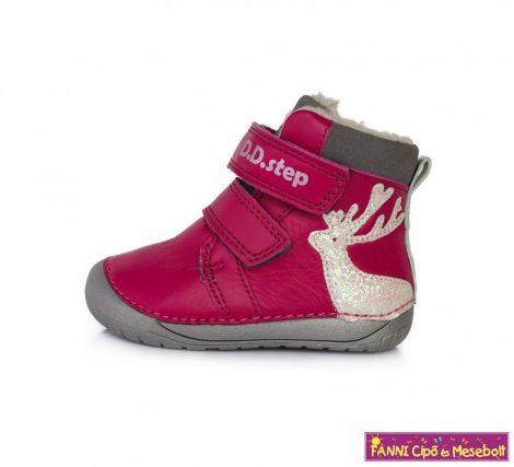 """D.D. step lány """"Barefoot"""" téli bélelt  vízlepergető gyerekcipő 20-25 s.pink szarvasos"""