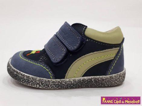 Szamos fiú első lépés gyerekcipő 17-24, kék-kiwi, mozdonyos