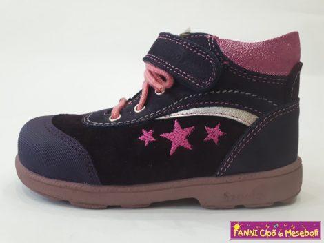 Szamos lány szupinált gyerekcipő 25-30 lila-pink, csillagos, fűzős