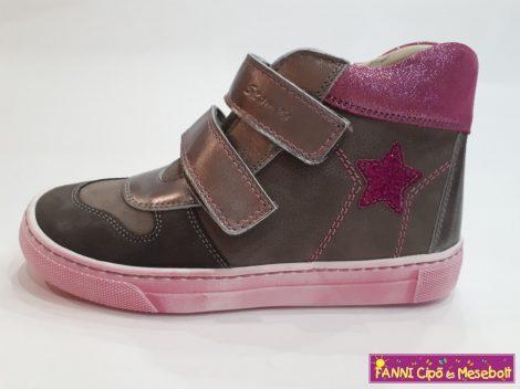 Szamos lány gyerekcipő 31-35, szürke-pink, csillagos