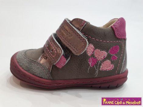 Szamos lány első lépés gyerekcipő 17-24, szürke-pink, lufis 17-ES UTOLSÓ PÁR