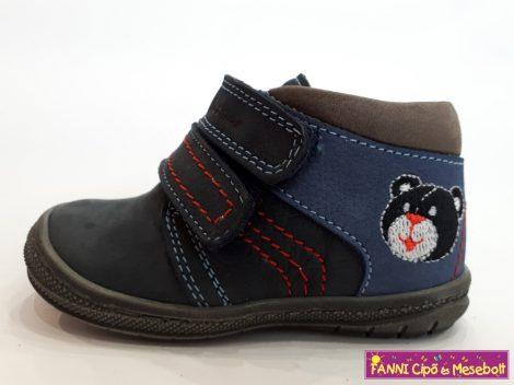 Szamos fiú első lépés gyerekcipő, 17-24, kék-szürke, macis