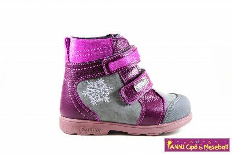 Szamos lány szupinált SzamTex/vízálló téli bélelt gyerekcipő  25-30 szürke-pink hópelyhes