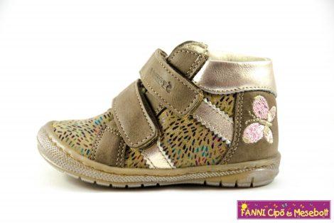 Szamos lány első lépés gyerekcipő 17-24, beige-arany-pillangós
