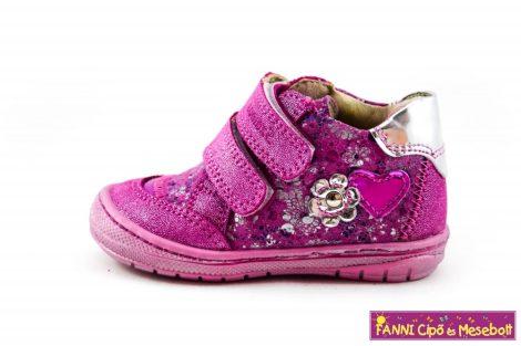 Szamos lány első lépés gyerekcipő 17-24 pink-ezüst virágos