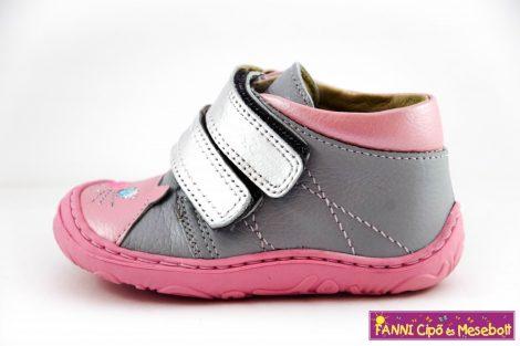 Szamos lány első lépés gyerekcipő  17-24 szürke-rózsaszín cicás