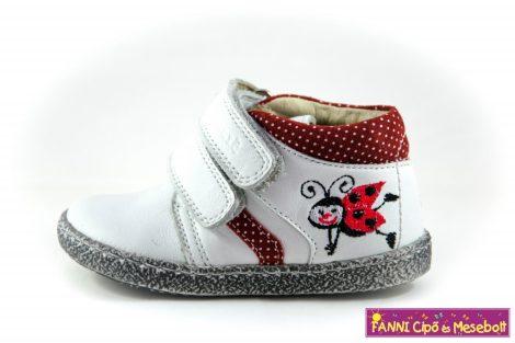 Szamos lány első lépés gyerekcipő 17-24, fehér-piros pöttyös-katicás