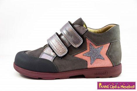 Szamos lány szupinált gyerekcipő 31-35 szürke-rózsaszín csillagos