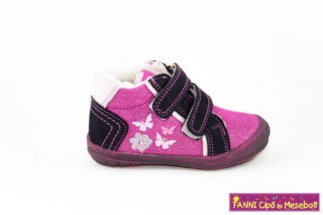 Szamos lány első lépés téli bélelt gyerekcipő 18-24 lila-pink pillangós