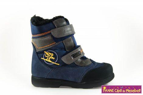 Szamos fiú szupinált SzamTex/vízálló téli bélelt gyerekcipő 19-24 kék-szürke síelős