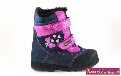 Szamos lány szupinált SzamTex/vízálló téli bélelt gyerekcipő 19-24 kék-pink masnis