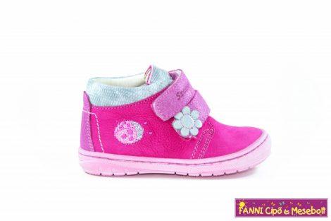 Szamos lány első lépés gyerekcipő 19-24 pink-ezüst-katicás 23-AS UTOLSÓ PÁR