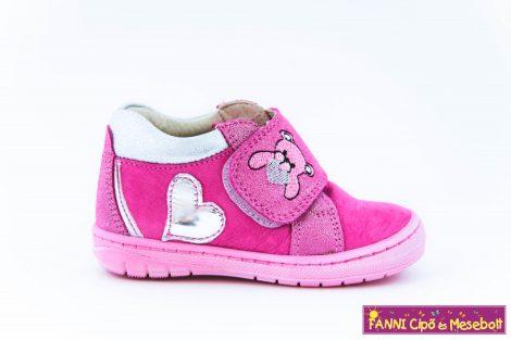 Szamos lány első lépés gyerekcipő 19-24 pink-ezüst macis szives