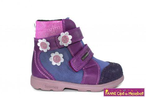 Szamos lány szupinált  SzamTex/vízálló téli bélelt gyerekcipő 25-30 indigókék-pink virágos