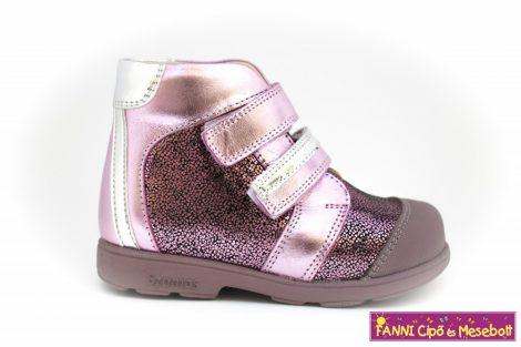 Szamos lány szupinált gyerekcipő 19-24 pink-ezüst-mintás