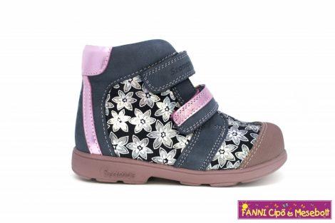 Szamos lány szupinált gyerekcipő 20-24 s.kék-pink virágos  20-AS UTOLSÓ PÁR