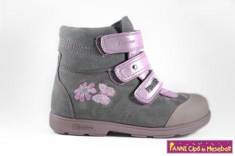 Szamos lány szupinált SzamTex/vízálló téli bélelt gyerekcipő 31-35 szürke-pink pillangós